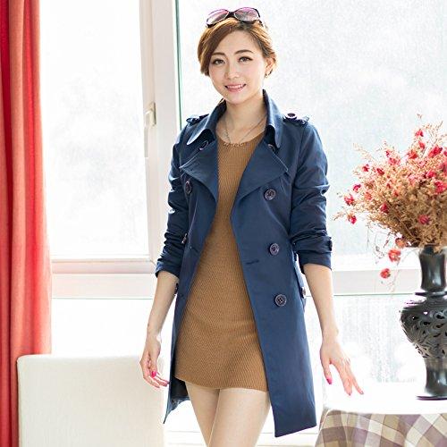 del abrigo en viento 蓝 Mayihang mujer la la de 深 el ropa TwCT8q