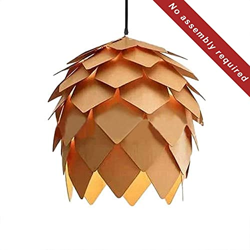 KIRIN Pendant Hanging Light Fixture Lamp Wood Artichoke Creative Modern Chandeliers Hand Craft Pine Cone Contemporary Style E26 for Bar Restaurant Light Living Room 9.84 Inch
