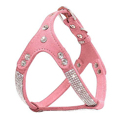 DOILNXH Soft Suede Dog Harness Bling Rhinestone Harness Diamond Leather Pet Harnesses for Small Medium Dogs Cats Red Pink Black - Raised Leather Halter