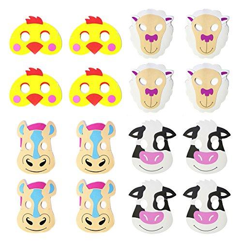 Farm Animal Foam Masks (12), Farm Party Supplies, 1st Birthday Party Handouts