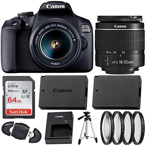 Canon EOS 2000D (Rebel T7) Digital SLR Camera with 18-55mm DC III Lens Kit (International Model) Professional Accessory…