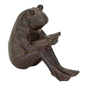 Amazoncom Benzara Quite Reading Garden Frog Statue Polystone