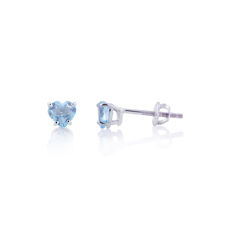 Diamond Scotch Jewelry 14k White Gold Plated 5mm 0.94 ct Simulated Aquamarine Heart Shape Stud Earrings for Women Screw Back
