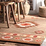 nuLOOM Traditional Vintage Handmade Wool Abstract Area Rugs, 2′ x 3′, Grey For Sale