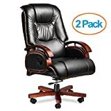 Halter EY-16A Fully Assembled Ergonomic Reclining PU Leather Executive Office Chair with Adjustable / Lockable Lumbar Support and Tilt Tension – Zero Back Pain - 46.5'' X 25'' X 19.7'' - 22'' - 2 Pack