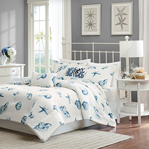 Blue Harbor House - Harbor House Beach House Full Size Bed Comforter Set - Blue, Ivory, Seashells - 4 Pieces Bedding Sets - 100% Cotton Bedroom Comforters