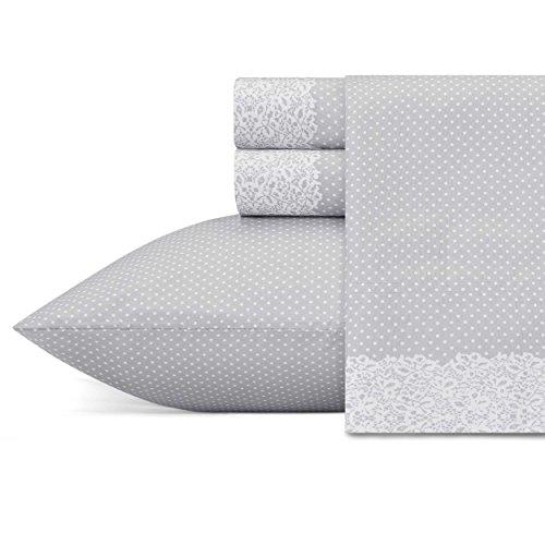 (Betsey Johnson Lace Dot Sheet Set, King, Medium Grey)