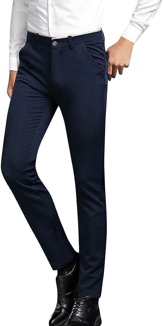 Benbzh Pantalones De Traje para Hombre Pantalones Casuales Azules Negros Vestido Camisa Traje Pantalones: Amazon.es: Ropa y accesorios