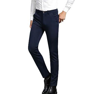 Benbzh Pantalones De Traje para Hombre Pantalones Casuales ...