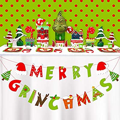 Merry Grinchmas Banner Christmas Banner for Christmas Holiday Party Supplies Xmas Party Decorations Mantel Decor: Toys & Games