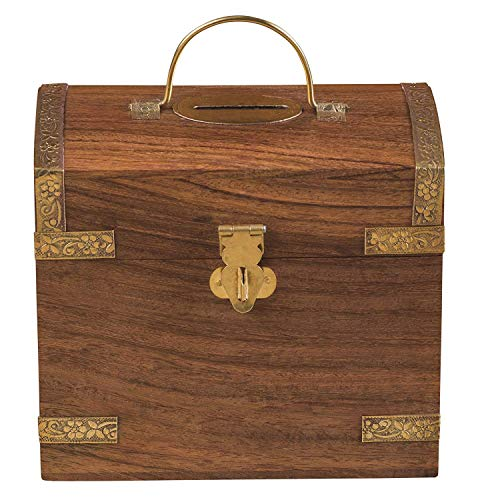 Rusticity Wood Coin Bank/Piggy Bank with Latch for Kids and Adults - Treasure Chest Design | Handmade | ( 3.5 x 5.2 x 4 inch)
