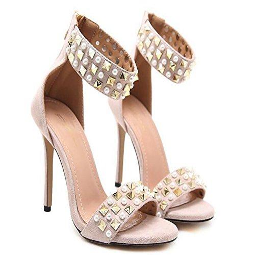 GAOLIXIA Tacones altos de las mujeres de primavera verano nuevas sandalias de lujo remache de la perla zapatos de moda de tacón alto Apricot