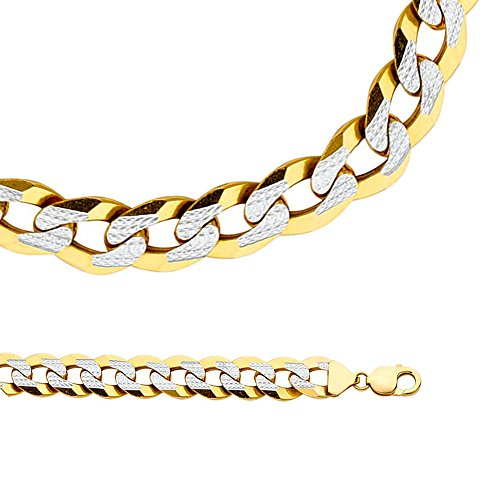 Solid 14k Yellow & White Gold Big Cuban Necklace Chain Pave Curb Wide Two Tone Heavy 14 mm 24 inch - Gold Heavy Cuban Pave Chain