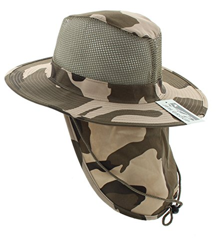 (JFH GROUP Wide Brim Unisex Safari/Outback Summer Hat w/Neck Flap (Extra Large, Desert Camoflauge))
