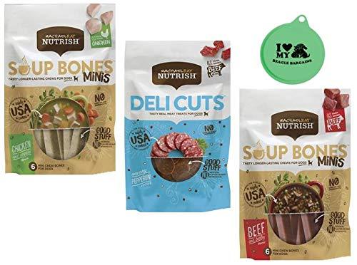 Rachael Ray Nutrish Dog Treats Variety Pack - Soup Bones Minis (1) Chicken & Veggies (1) Beef & Barley, 4.2 Oz Each (1) Deli Cuts Pepperoni Treats, 3 Oz - Plus Can Cover (4 Items Total)
