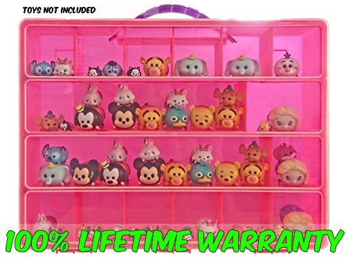 Tsum Tsum Mini Toys Carrying Case - Stores Dozens Of Tsum Tsum Mini Figure And Toys - Durable Toy Storage Organizers By Life Made Better - Pink