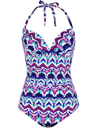 Firpearl Womens One Piece Swimsuit Ruched Halter Bathing Suit Tummy Control Swimwear