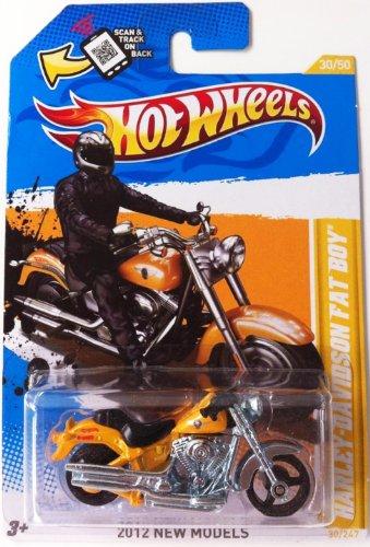 Hot Wheels 2012 New Models Harley Davidson Fat Boy Bike Motorcycle Yellow (Harley Davidson Fat Boy Model)