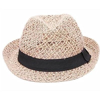 Hosaire Chapeau de Paille Femme Respirant Lin Filets Chapeau de jazz  Anti-soleil Chapeau de cdf6952ed8a
