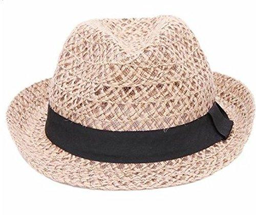 Hacoly Damen Jazz Hut Strandhut Erwachsen Sonnenhüte Strohhut Mode Spitze Cap Schmale Krempe Sommer Strand Süß Sonne Hüte Mesh Hollow Sommerhut - Dunkles Beige