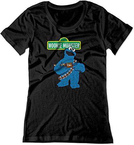 BSW Women's Wookie Monster Cookie Star Wars Shirt MED Black