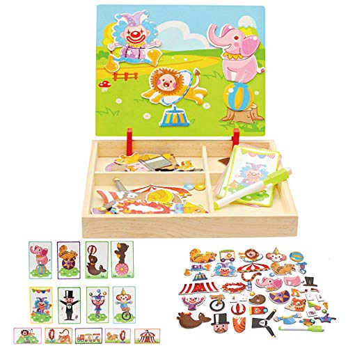 YASSUN Children's Wooden Three-Dimensional Puzzle, Double-Sided Drawing Board Children's Magnetic Puzzle (Circus)