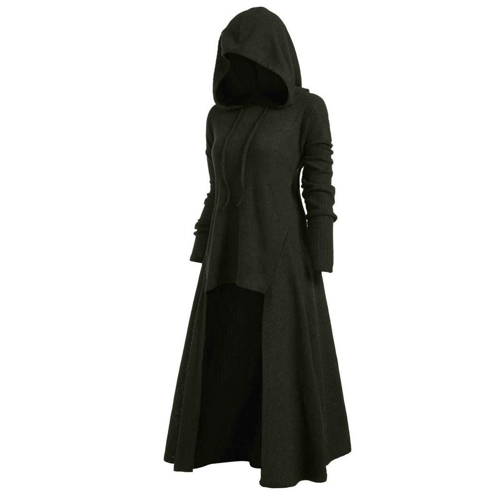Aniywn Womens Long Sleeve Plus Size Hooded Sweater Top Vintage Cloak High Low Hem Long Blouse T-Shirt