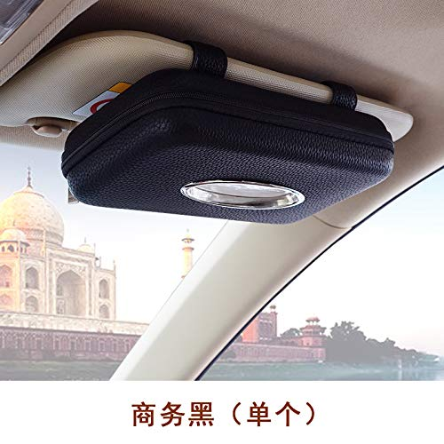- Meiqiduo Beige/Black Tissue Case Holder for Sun Visor and Rear Seat - Refillable Leather Paper Box Dispenser with Clip on The Back for Easy Installation (Black)