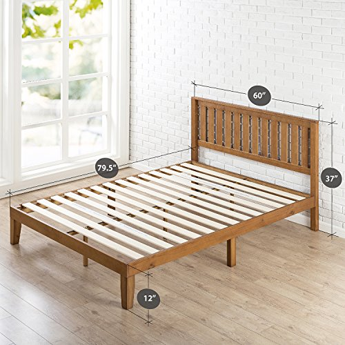 Zinus 12 Inch Wood Platform Bed with Headboard / No Box Spring Needed / Wood Slat Support / Rustic Pine Finish, Queen