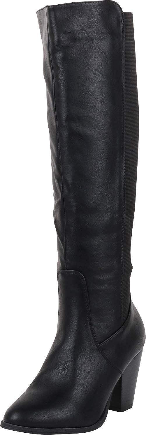 Black Pu Cambridge Select Women's Classic Stretch Calf Chunky Stacked Heel Knee-High Boot