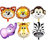 JUNGLE SAFARI ANIMALS BALLOONS - 6pcs 22 Inch Giant Zoo Animal Balloons Kit For Jungle Safari Animals Theme Birthday Party Decorations