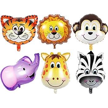 amazon com jungle safari animals balloons 6pcs 22 inch giant zoo