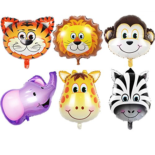JUNGLE SAFARI ANIMALS BALLOONS - 6pcs 22 Inch Giant Zoo Animal Balloons Kit For Jungle Safari Animals Theme Birthday Party -