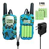 Walkie Talkie for kids, 22 Channel FRS/ GMRS Two Way Radio Up to 3 KM Range Portable Walky Talky, Rechargeable Two Way Radio for Children (1 pair camouflage blue)