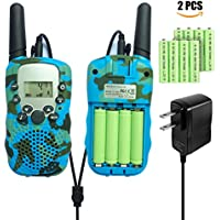 Walkie Talkies for Kids, 22 Channel FRS/ GMRS Two Way Radio Up to 3 KM Range Portable Walky Talky, Rechargeable Two Way Radio for Children (1 pair camouflage blue)