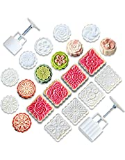 Moon Cake Molds, Mid-Autumn Festival Hand-Pressure, Square/Round/Flower Mode Patterns Cookie Stamps DIY Decoration Press Cake Cutter