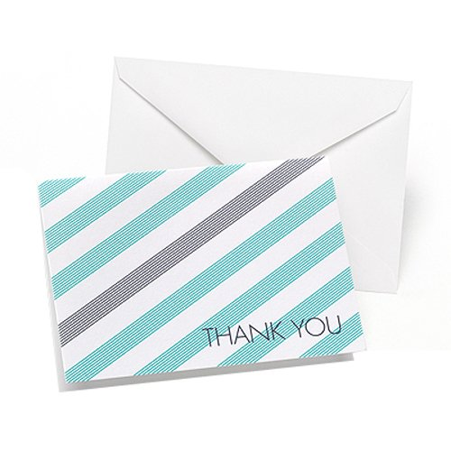 Hortense B. Hewitt 27166 50 Count Lagoon and Slate Simple Stripe Thank You Cards