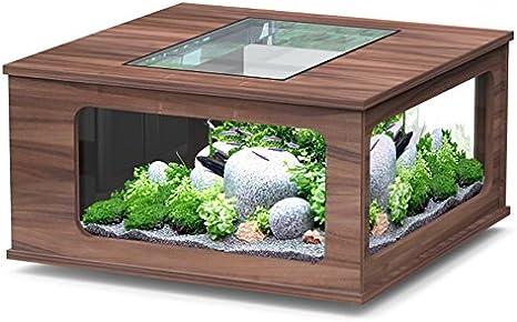 Acuario mesa LED 100 x 100 cm nogal oscuro: Amazon.es ...