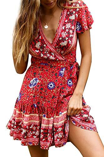 4bb93dd493d1c Asskdan Women's V-Neck Floral Print Short Sleeve Boho Dress Party Evening  Beach Mini Tunic