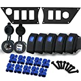 Iztoss Aluminum black Dash Panel plate w/5 on/off rocker Switches and cigarette charger plug and 3.1A USB For Polaris RZR XP 1000 with installation kits