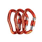 sepeak TOUNTO 3PCS D-ring Locking Climbing Carabiner Aluminum Orange (ORANGE)
