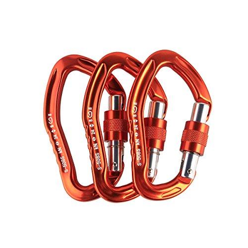sepeak TOUNTO 3PCS D-ring Locking Climbing Carabiner Aluminum Orange (ORANGE) by sepeak