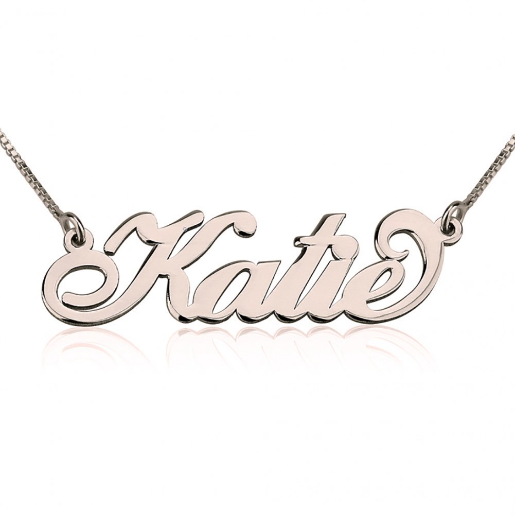 Personalized Name Necklace in Rose Gold Plated Silver Gift for Her Custom Made Pendant with Any Name
