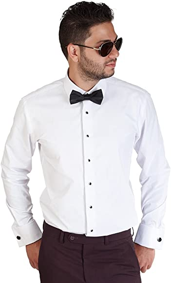 d63e5347ab7925 New Mens Tailored Slim Fit White Tuxedo Shirt French Cuff Wrinkle Free by  Azar (Small