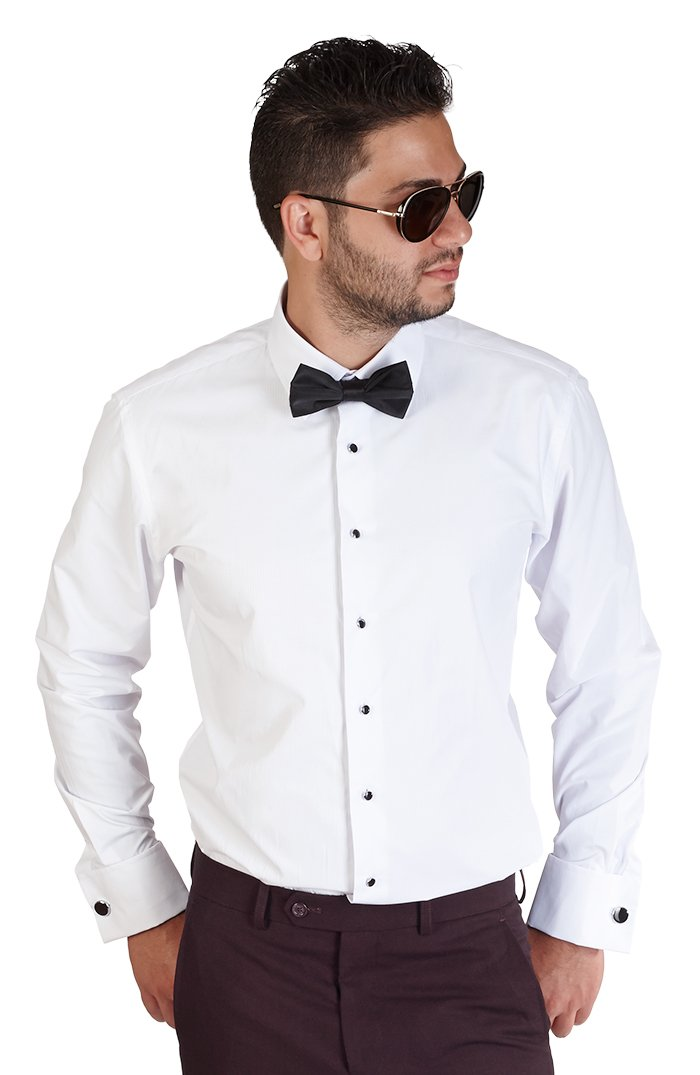 AZAR MAN New Mens Tailored Slim Fit White Tuxedo Shirt French Cuff Wrinkle Free by Azar (Large 16/16.5)