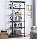 O&K Furniture 6-Tier Open Back Bookshelf, Industrial Style Bookcases Furniture Decor for Home Office, Black-Espresso