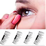 3D MAGNETIC False Eye Lashes, 4 Pcs/2 Pairs Reusable Natural Thick Ultra-thin 0.4mm Handmade False Eye Lashes Extension Non-Glue/Glue-free Waterproof-able