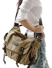 Big Vintage Canvas Messenger Bag Book Laptop Shoulder School Ladys Women Men New (Large, Beige)