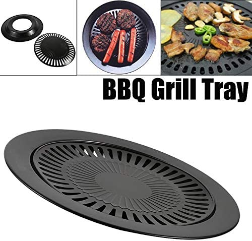 Grille pour Barbecue Po/êle Antiadh/ésive Plaque pour BBQ Plaque /à Grillades Plaque de Cuisson Antiadh/ésive Plaque de Barbecue Plancha Grill pour Barbecue Camping Rond