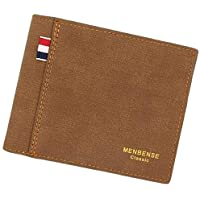 Stylish PU Leather Wallet Men Simple Casual Short Purse Clutch Male Wallet (BROWN)